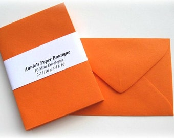 10 Mini Envelopes - Tangy Orange -Card Making, Paper Crafting, Gift Cards, Tags, Souvenirs, Mementos, Notes, Gift Giving