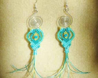 Boho, Macrame  earrings, micro macrame, knotted jewelry, hand made earrings, hippie, chic