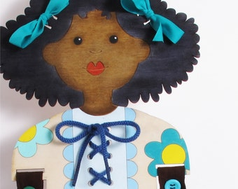 Afro American, Doll, Lacing Toy, Buttons, Small Motors Activity, Gift, Wood, Dressing Skills Practice, for Boys, for Girls