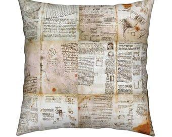 Home Decor Pillow Cover, 18 x 18 Pillow, DaVinci's Journal Design