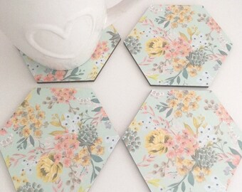Coasters, floral coasters, coaster set, home accessories, thank you gift,home decor, drinkware, teacher gift, housewarming, gift for her