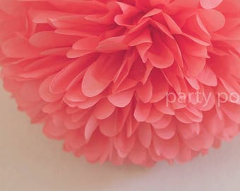 Coral Tissue Pom Pom .. Wedding Decoration / Bridal Shower / Birthday / Party Decoration / DIY
