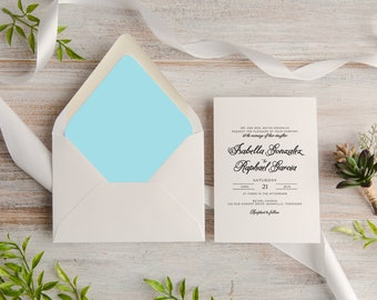 Classic Calligraphy Wedding Invitation Suite, Custom, Traditional, Envelope Liner, Made To Order   Deposit