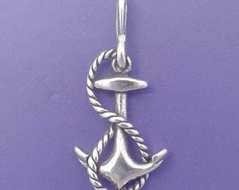 ANCHOR with Rope Charm .925 Sterling Silver Sailor, Ship Captain Pendant - lp26