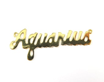 Gold Plated Astrological Name Plate Pendants - Aquarius - (2X) (A610-C)