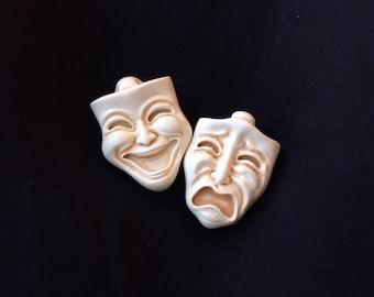 Comedy Tragedy Masks brooch pin