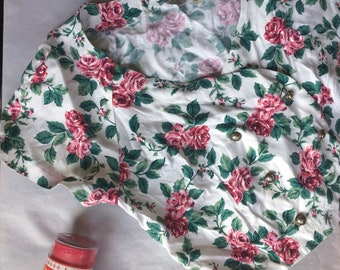 80s/90s VTG roses floral double button up top