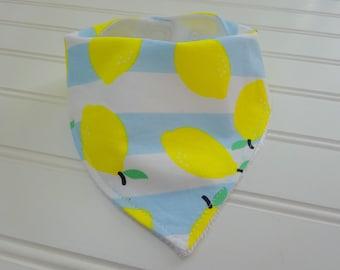 Lemon Bandana Bib-Dribble Bib-Baby Boy Bib-Baby Girl Bib-Gender Neutral Baby Gift-Minky Bib-Baby Accessory-Baby Shower Gift