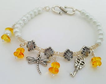 Dragonfly and Amber Bracelet
