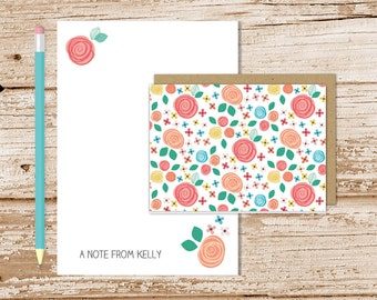 personalized stationery set . floral whimsy notepad + note card set . flower notecards . stationary set . womens ladies gift set