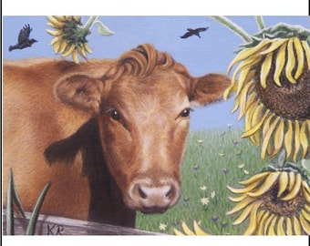 ACEO ART PRINT cow sunflowers