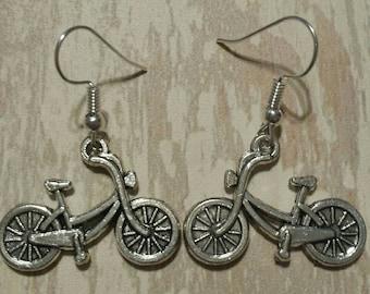 Bicycle Earrings Tibetan Silver Dangle Earrings Cyclist #2 Bike