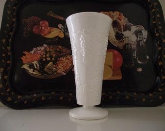 Vintage Milk Glass Vase, Harvest Grape Flower Vase