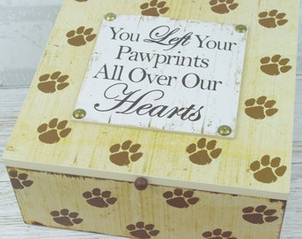Memory Box Dog Keepsake Ashes Box You Left Pawprints All Over Our Hearts  SG1933 W18