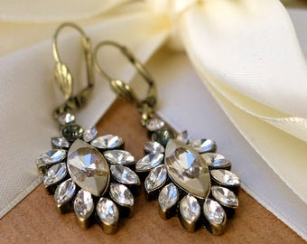 Art Deco style leaf earrings