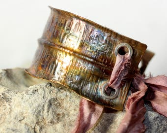 Textured Anticlastic Foldformed Copper Cuff with Sterling  & Silk Accent