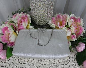 Vintage 1950's Silver Evening Bag,Vintage Handbags,Antique Purse,Victorian Purse,Clutches,Metallic Handbag,Silver Foiled Purse,Dinner Purse