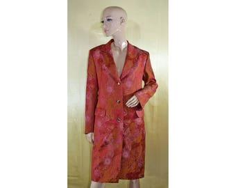Vintage Dalmata Donna women coat manto pearl buttons floral
