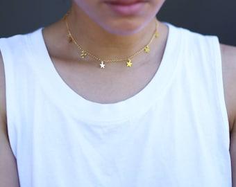 Star Dangle Choker // Gold Star Necklace // Christmas stocking stuffer for women under 20.00