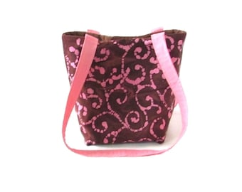 Brown Batik Purse, Small Tote Bag, Pink Batik Scroll Fabric, Cloth Purse, Handmade Handbag, Teen Purse, Shoulder Bag