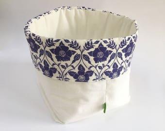 Fabric storage basket, original linoprint fabric design