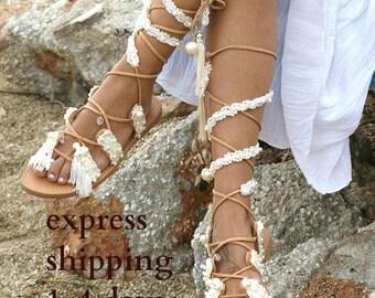 "Wedding sandals/ boho sandals/ bridal sandals/ wedding shoes/ handmade leather sandals/ Ivory sandals/ beach sandals/ ""PRINCESS 2"""