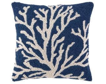 Blue Single Sea Reef Hand-Hooked Beach Pillow