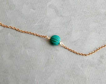 Simple blue bead choker,brass necklace,choker necklace,world necklace,short necklace,minimalist necklace,layering necklace.