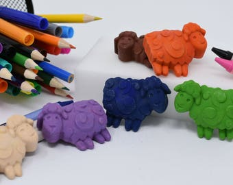 Sheep Crayons - Set of 6 - Barnyard Animals - Lamb Crayons - Stocking Stuffer - Recycled Crayons - Farm Animals - Farm Party - Party Favors