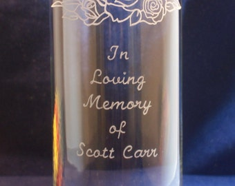 One Personalized Cylinder Glass Vase 10.5 x 3, Engraved with Roses for Wedding, Anniversary, In Loving Memory...