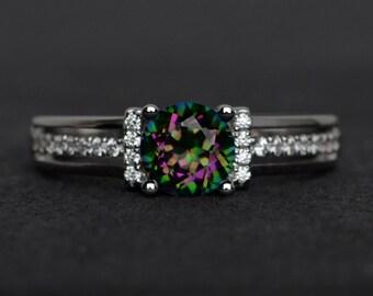 mystic topaz ring rainbow mystic topaz engagement ring gemstone rings silver round cut mystic topaz