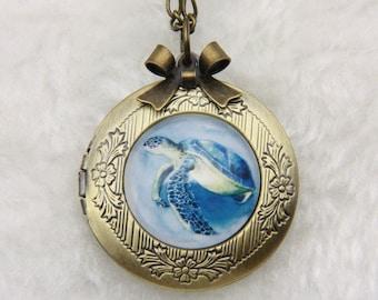 Turtle Necklace, Turtle locket, 2020m