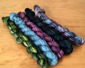 "Hand-Dyed Sock Yarn ""Winter Nights"" Mini Skeins Merino Wool Nylon Variegated 4 Ply Fingering Weight Yarn"