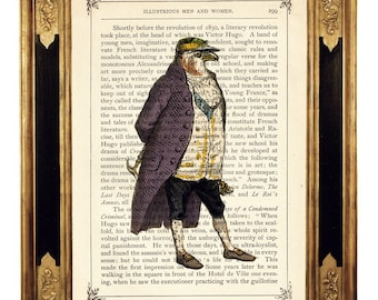 Hawk Eagle Dictionary Art Gentleman Frock Coat Portrait Nursery Poster - Steampunk Vintage Victorian Book Page Art Print