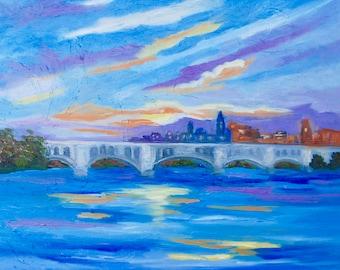 Print of Original Painting of Georgetown Washington D.C. Key Bridge Landscape By Rebecca Croft