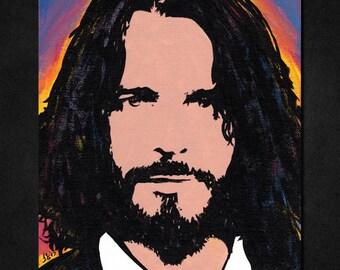 "Original CHRIS CORNELL Pop Art PAINTING - New, 8"" X 10""- Hand-painted artwork. Soundgarden, Audioslave. Grunge Rock Music. Singer Songwriter"