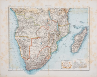 Map of South Africa  / Color map / Original / German World Atlas 1896 / Big / 22.5 x17.5 in