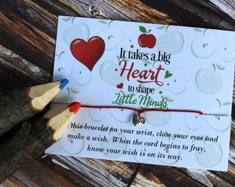 Teacher Wish Bracelet, Teacher, School Gift, Teacher Present,Teacher Gift, Wish Upon Your Wrist, Apple Jewelry, Apple, Teacher Apple