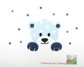 Applied fusible fabric sky blue bear head starry glitter flex fusible pattern liberty patch iron on patch