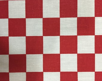 """Red Checkered Print Poly Cotton Print Fabric - Sold By The Yard -  59"""""""