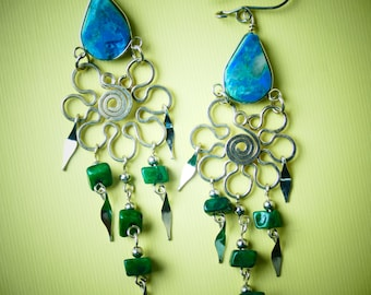 """Ethnic Earrings Unique Design Hang 3.25""""  / Green Beaded Earrings With Chrysocolla And Hammered Metal Wire / Versatile Rustic Earrings / A1"""