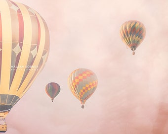 Carnival Photography, Hot Air Balloons Photo, Pink Nursery Art, Whimsical Art, Large Wall Art, Kids Room Decor, Dreamy Print, Picture