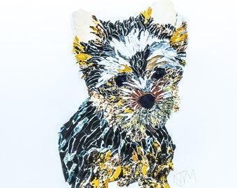 A3 Print of Original Handmade Yorkshire Terrier Dog Collage