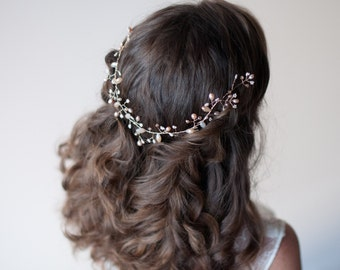 Hair vine, Blush and gold wedding hair halo, Dusty Pink Freshwater Pearl and crystal on wire branches, Wire wrapped beaded wedding hair vine