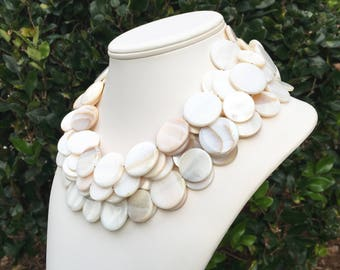 Chunky White Shell Necklace Chunky Shell Necklace Beach Bride Necklace Multiple Strand Shell Necklace White Seashell Necklace 6 Strand