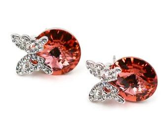Butterfly Red Swarovski Crystal Earrings