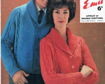 Vintage Knitting Pattern PDF: 1960s Men and Womens Button Shawl Collar Cardigan Knitting Pattern Digital Copy