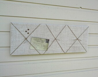 Nautical Burlap pinboard with Jute twine accent in knots for your cabin, cottage, office or kitchen, wedding decor in your custom color