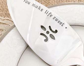 you make life sweet. Pie server cake: hand stamped new stainless steel pearls