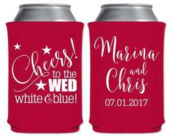 Neoprene Can Coolers Beverage Insulator Personalized Wedding Favor | Cheers To The Wed White & Blue (1A) | 4th of July | READ DESCRIPTION